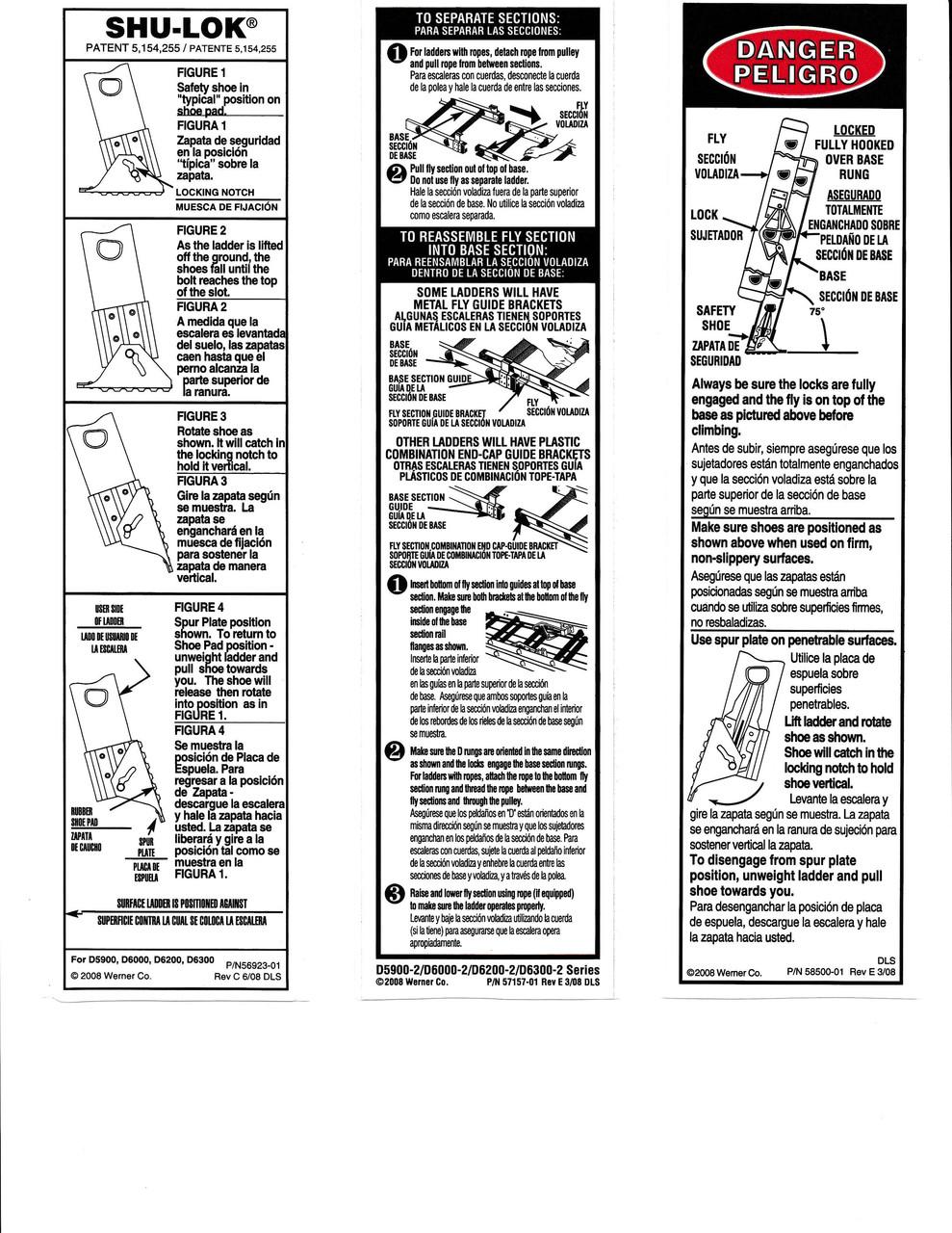 Werner Lfe100 Safety Labels Fiberglass Extension Ladders