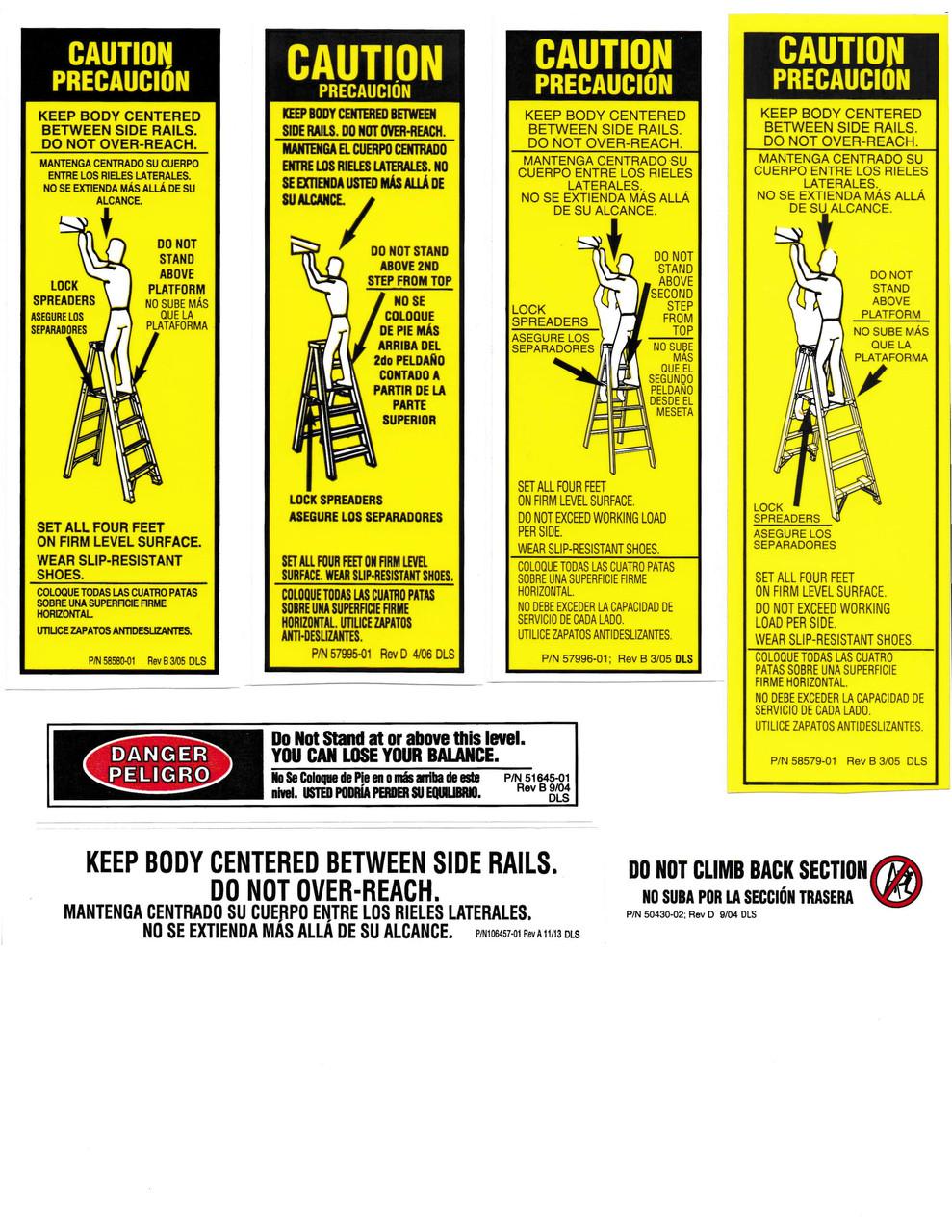 Werner Las100 Safety Labels Aluminum Step Ladders Industrial
