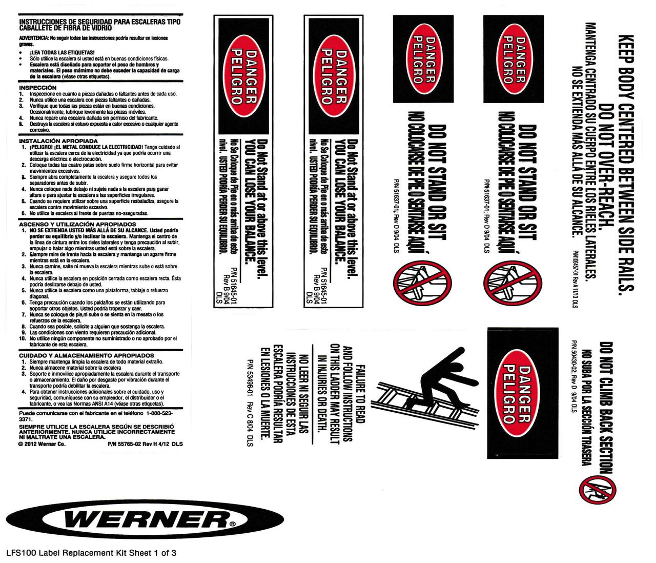 Werner Lfs100 Safety Labels Fiberglass Step Ladders Industrial