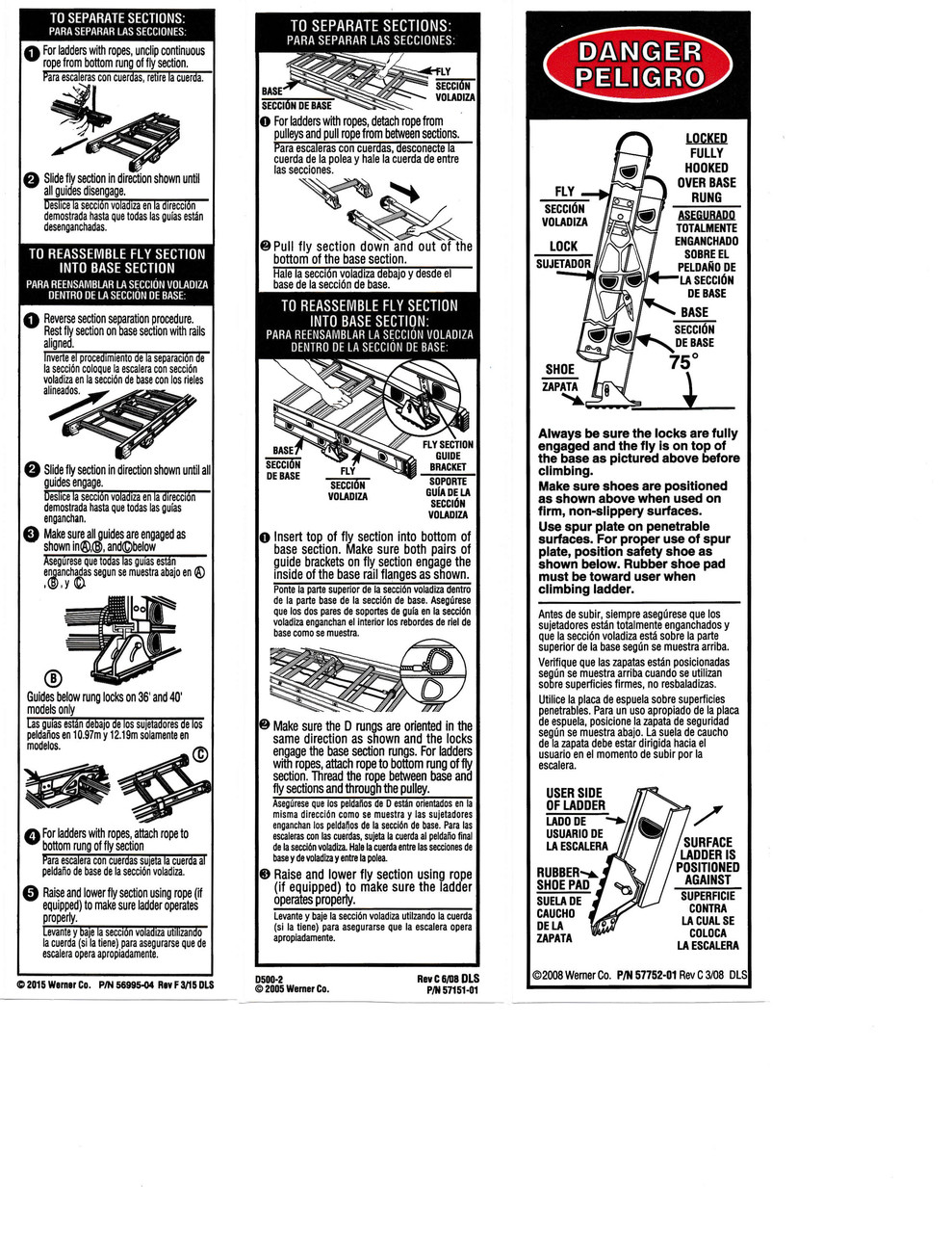 Werner Lae100 Safety Labels Aluminum Extension Ladders