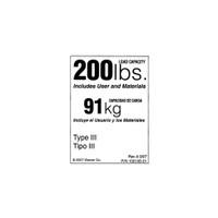 Werner LDR200 Duty Rating Label - 200 lb