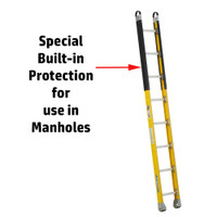 Werner M7100-1 Series Fiberglass Manhole Ladder 375 lb Rated