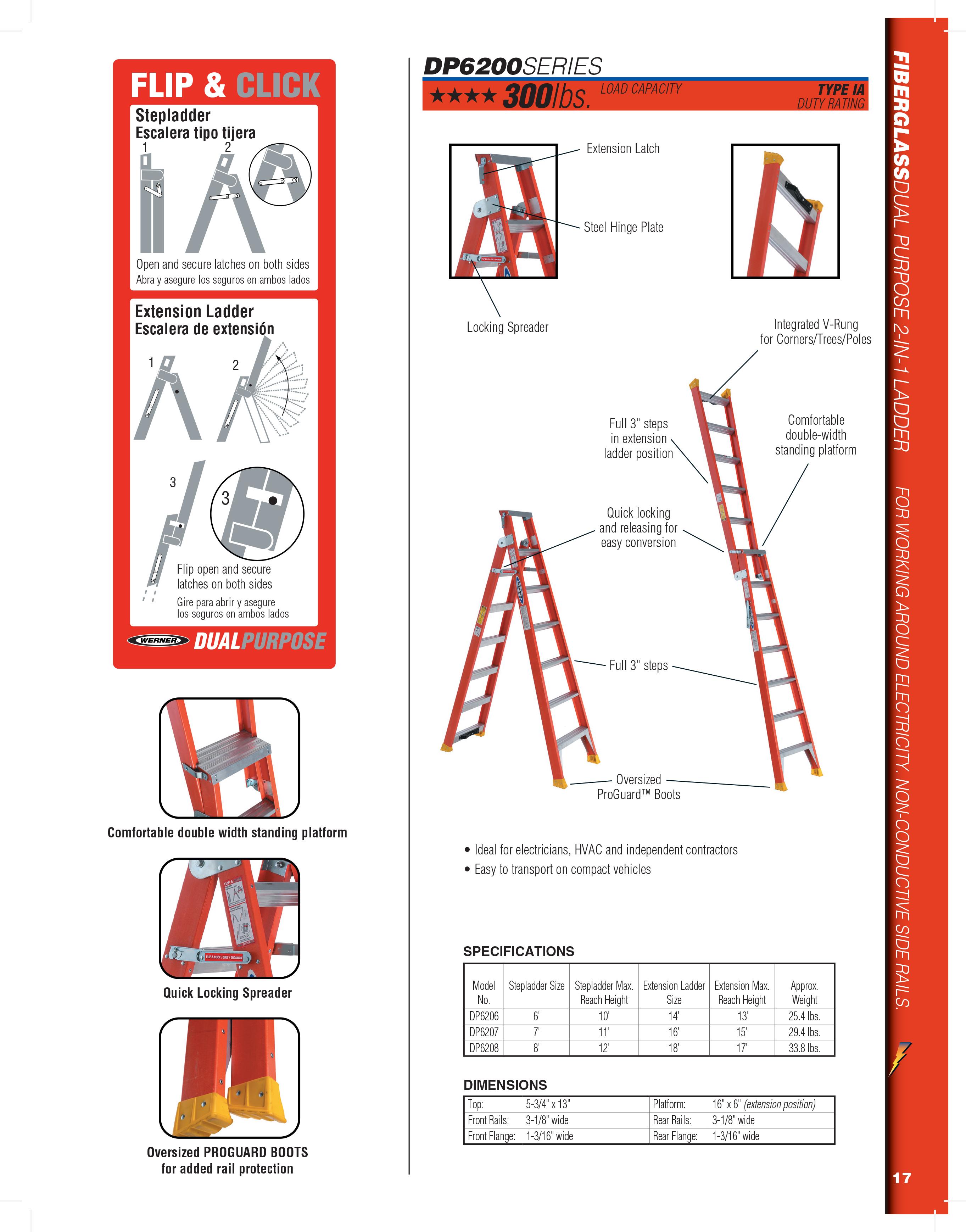 Werner Dp6200 Series Fiberglass Dual Purpose Ladder Type