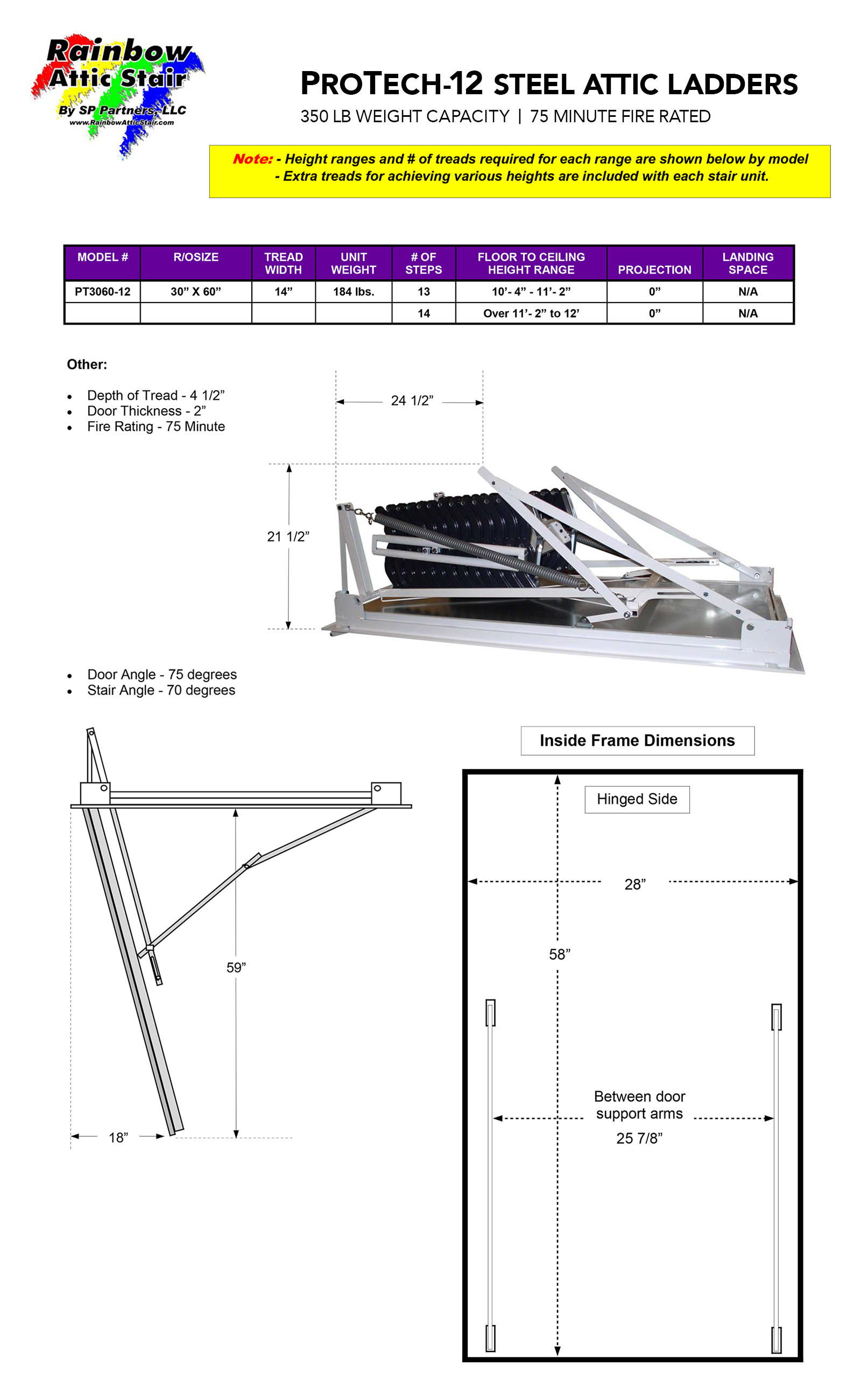 Rainbow Attic Stair Specifications ProTech-12