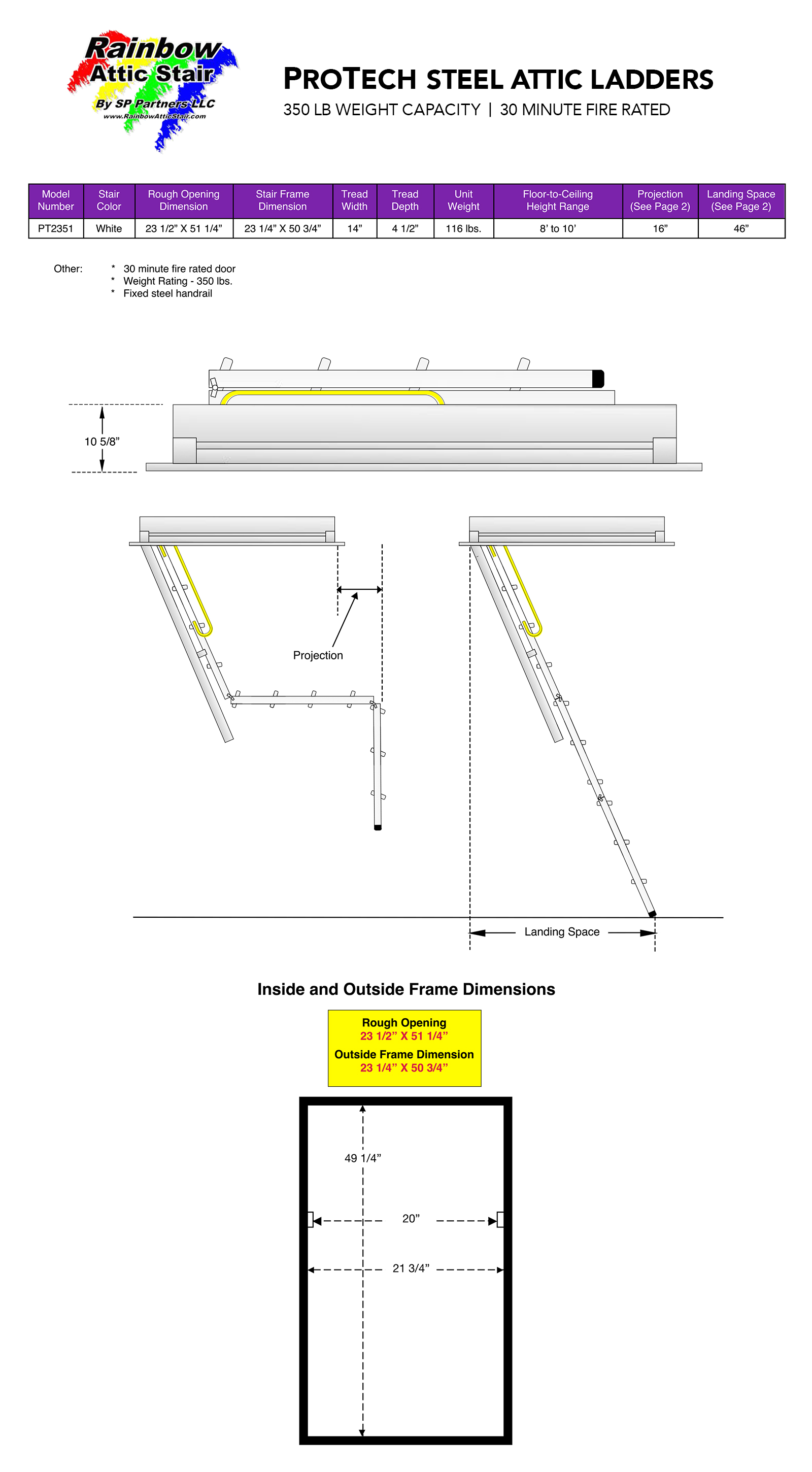 Rainbow Attic Stair Specifications Pro-Tech