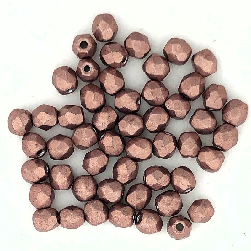 2mm Fire Polish, Metallic Autumn Maple (Qty: 50)