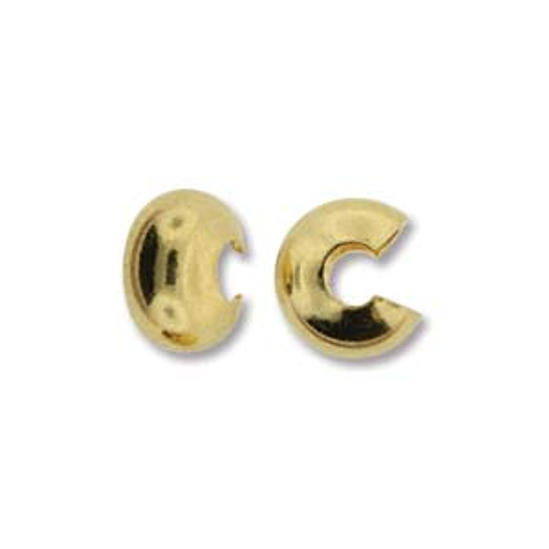 Crimp Bead Cover,  Gold Plated, 4mm (Qty: 12)