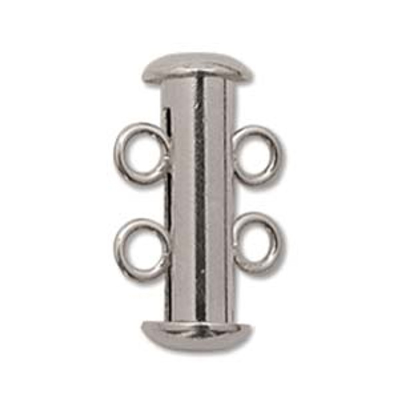 2-Strand Slide Clasp, Silver Plated, 16mm (Qty: 1)