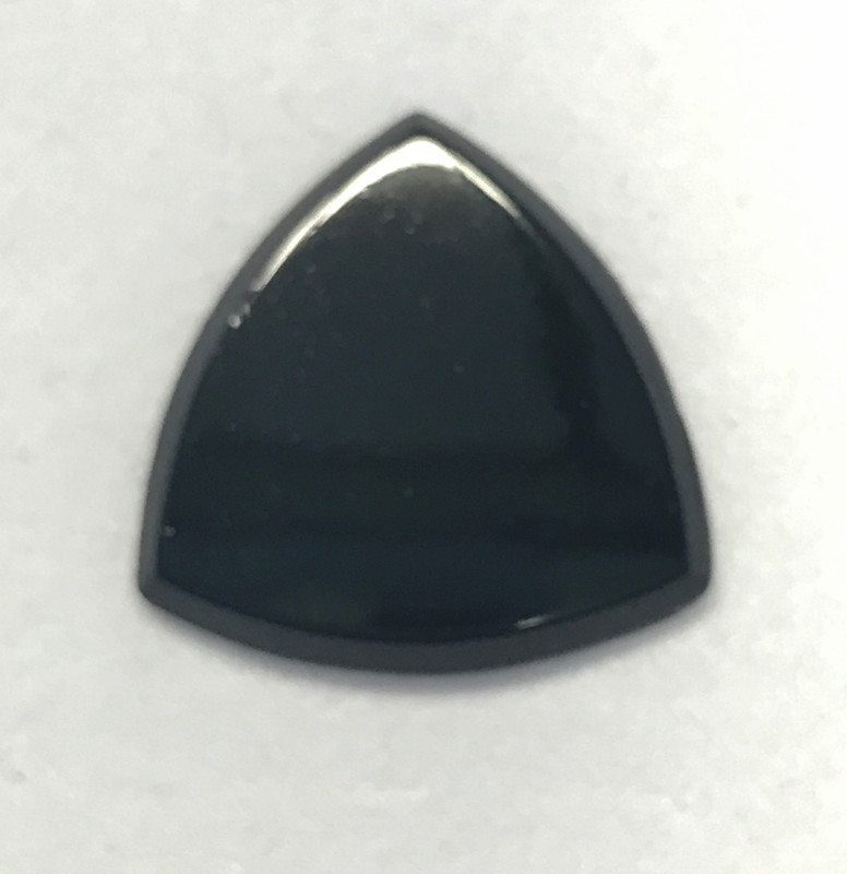 22mm Vintage West German Glass Black Triangle Beveled Edge Cabochon (Qty: 1)