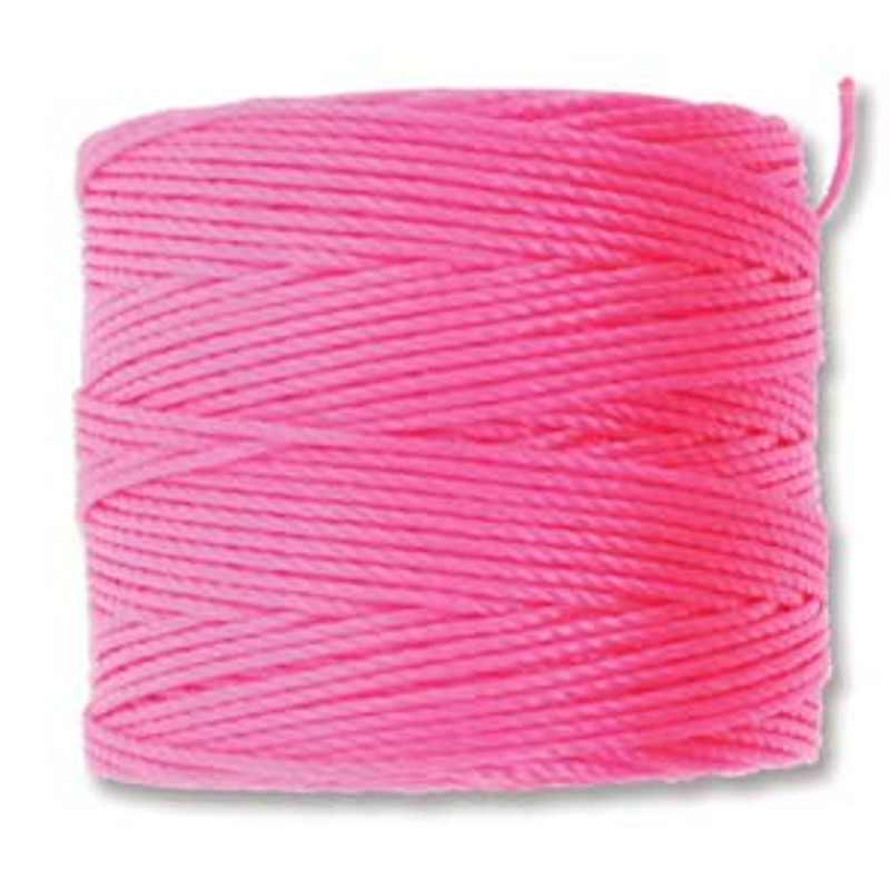 S-Lon Bead Cord, Neon Pink (TEX 210, Medium Weight) (77 yd)