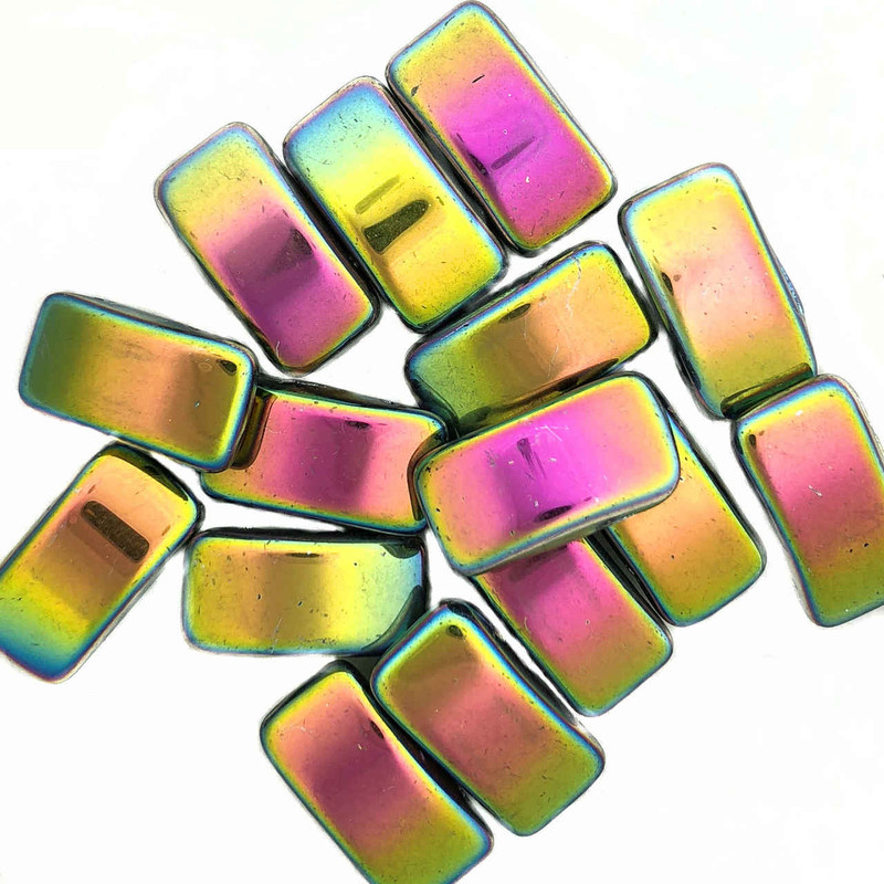 Carrier Beads, Czech Glass, 2-hole, Vitrail (Qty. 15)