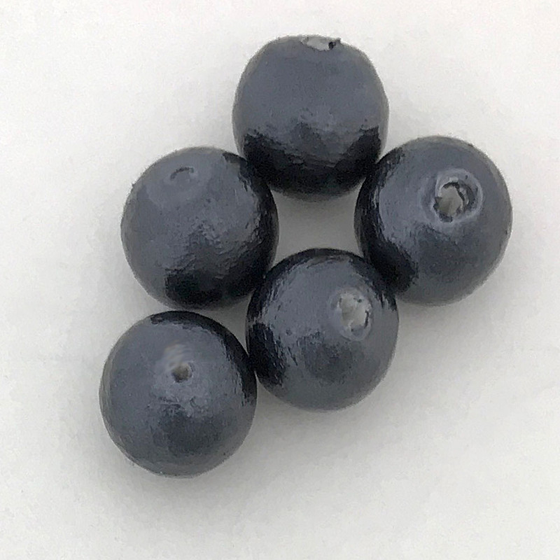 Miyuki Cotton Pearls, Black (8mm) (Qty: 5)