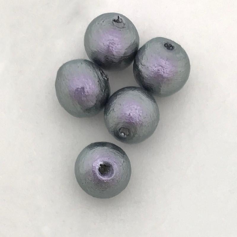 Miyuki Cotton Pearls, Rich Grey (8mm) (Qty: 5)