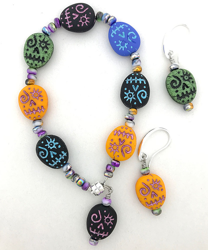Sugar Skull Bracelet and Earrings Kit