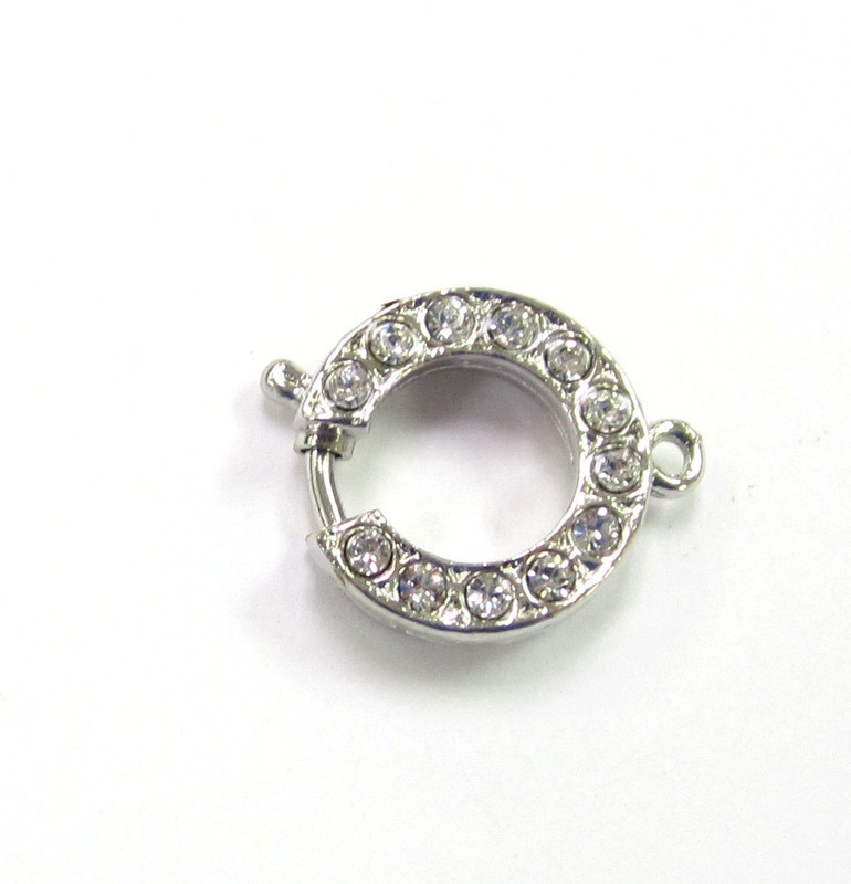 1 Strand Silver Plated Round Elegant Elements Clasp (C070)