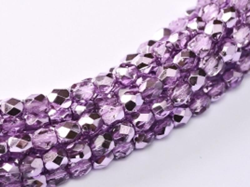 3mm Fire Polish, Lilac Metallic Ice (Qty: 50)