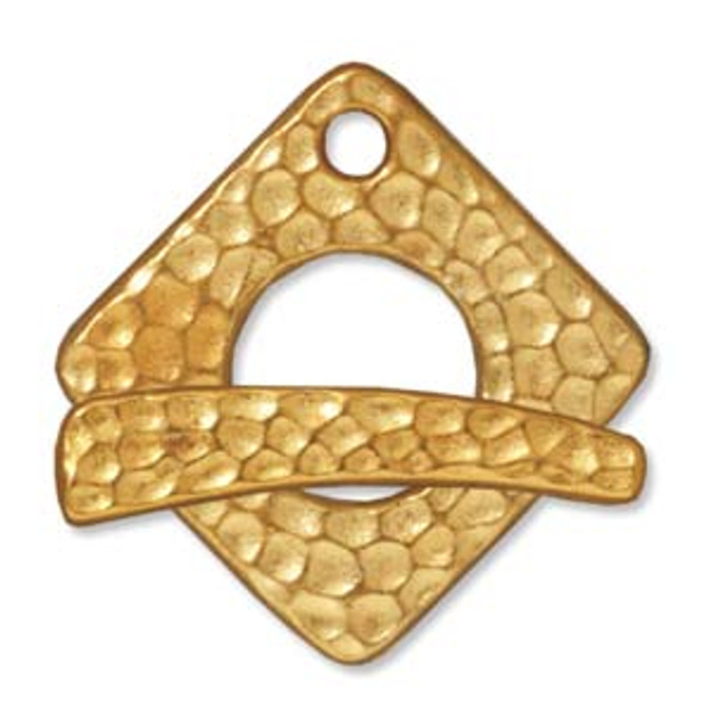 TierraCast Gold Plated Hammered Square Toggle Clasp (C7)