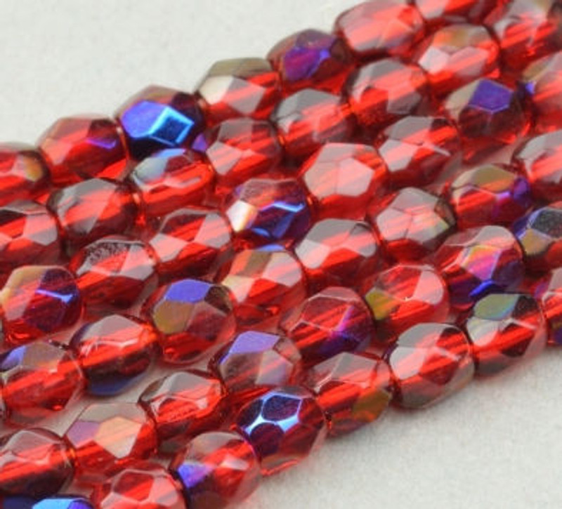3mm Fire Polish, Red Ruby Transparent with Blue Iris (Qty: 50)