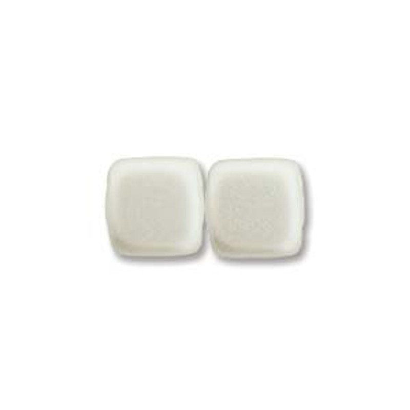 2-Hole CzechMates Tile Beads, White (Qty: 25)