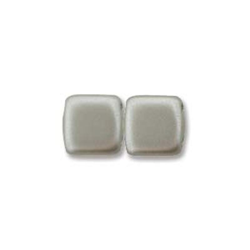 2-Hole CzechMates Tile Beads, Matte Silver (Qty: 25)