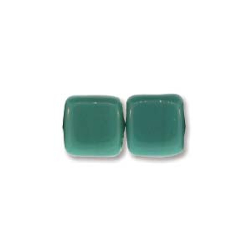 2-Hole CzechMates Tile Beads, Persian Turquoise (Qty: 25)