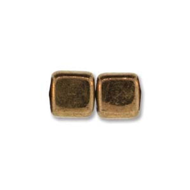 2-Hole CzechMates Tile Beads, Bronze (Qty: 25)