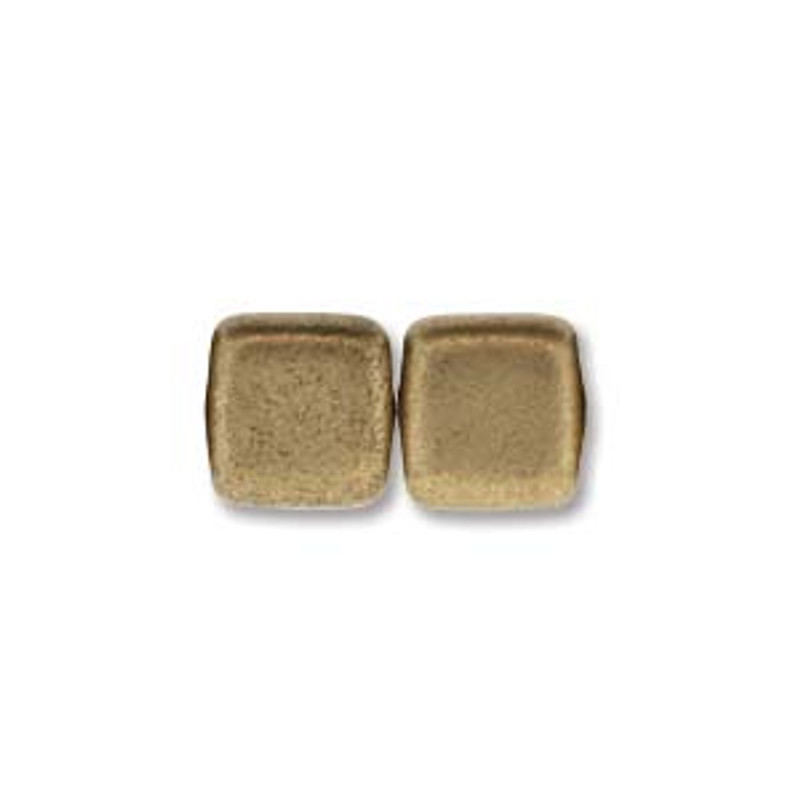 2-Hole CzechMates Tile Beads, Matte Metallic Flax (Qty: 25)