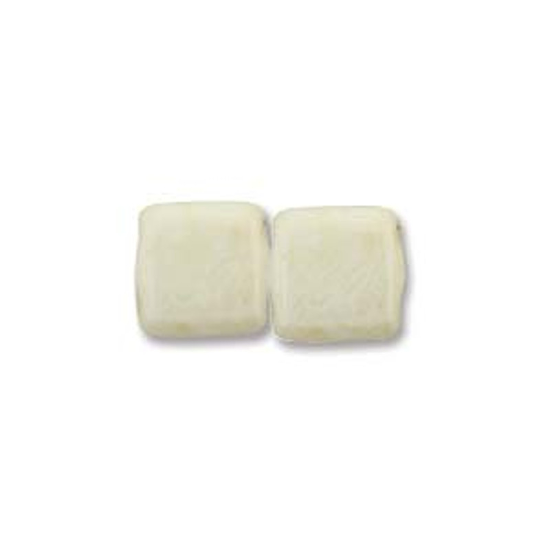 2-Hole CzechMates Tile Beads, Beige Luster (Qty: 25)