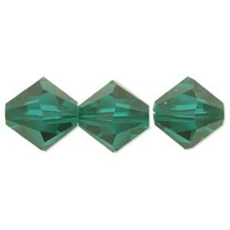 3mm Swarovski Bicones, Emerald (Qty: 50)