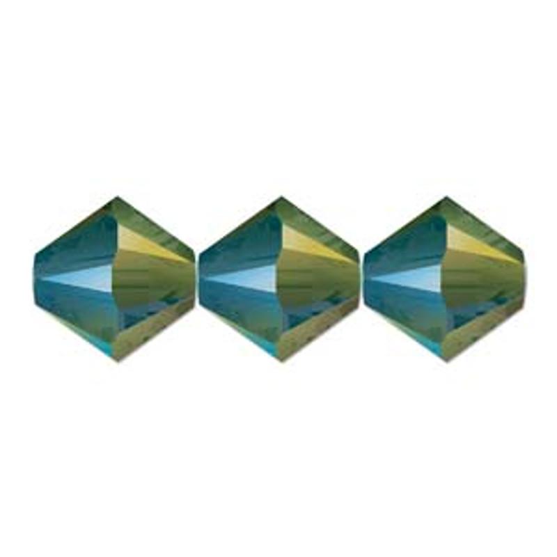 3mm Swarovski Bicones, Crystal Iridescent Green (Qty: 50)
