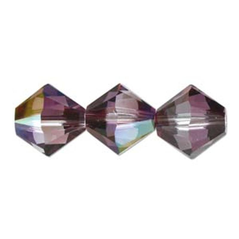 3mm Swarovski Bicones, Crystal Lilac Shadow (Qty: 50)