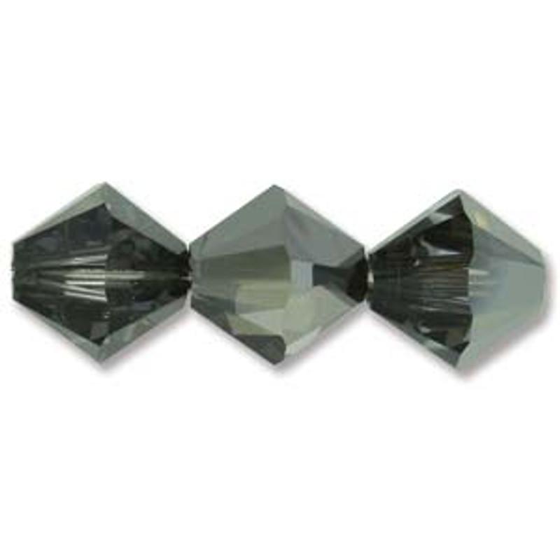 3mm Swarovski Bicones, Crystal Silver Night (Qty: 50)