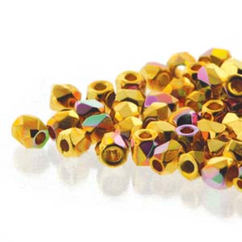 2mm Fire Polish, 24kt Gold-Plated AB (True 2) (Qty: 50)