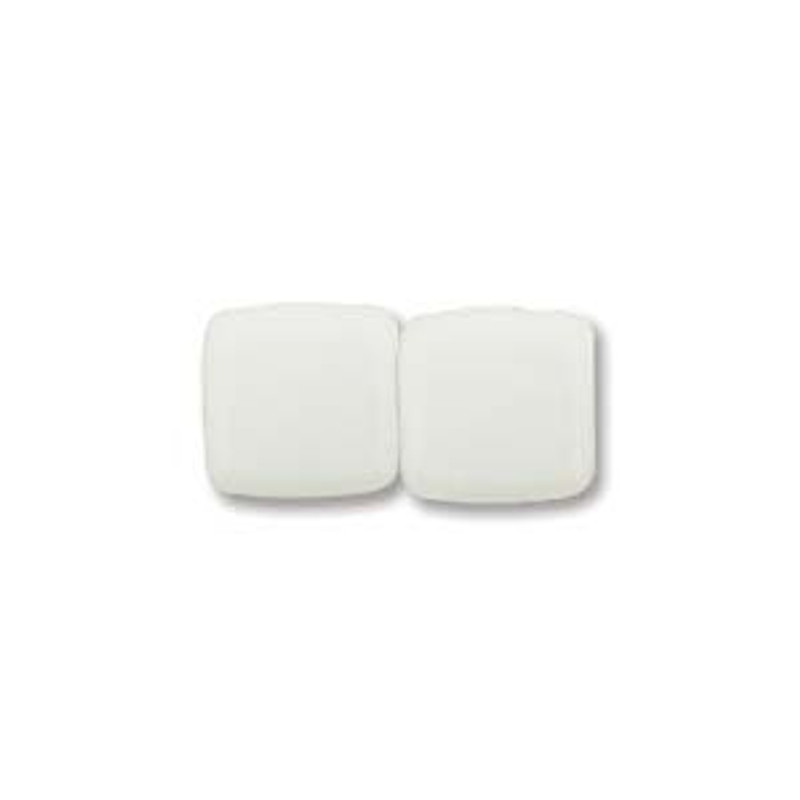2-Hole CzechMates Tile Beads,  Alabaster (Qty: 25)