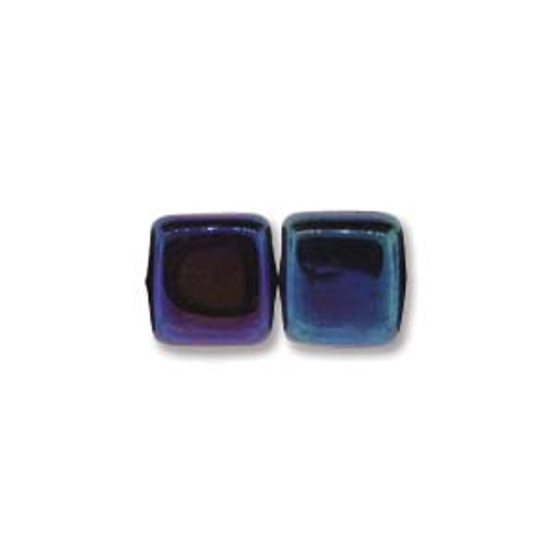 2-Hole CzechMates Tile Beads, Blue Iris (Qty: 25)