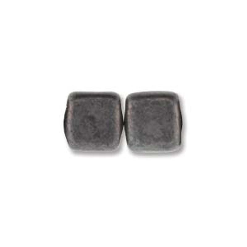 2-Hole CzechMates Tile Beads, Matte Hematite (Qty: 25)