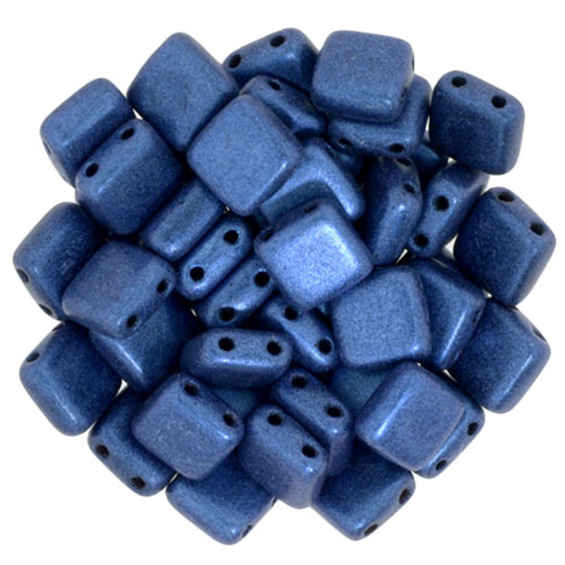 2-Hole CzechMates Tile Beads, Blue Metallic Suede (Qty: 25)