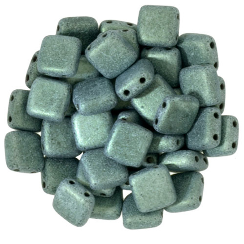 2-Hole CzechMates Tile Beads, Light Green Metallic Suede (Qty: 25)