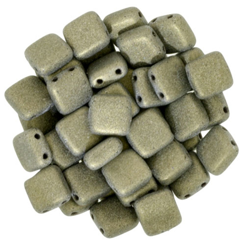 2-Hole CzechMates Tile Beads, Gold Metallic Suede (Qty: 25)
