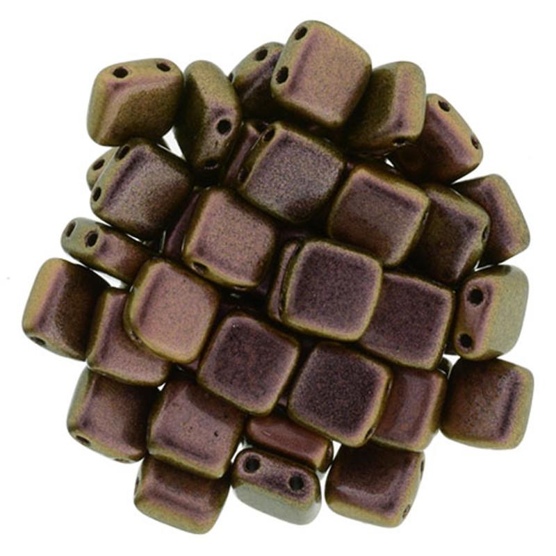 2-Hole CzechMates Tile Beads, Copper Rose (Qty: 25)