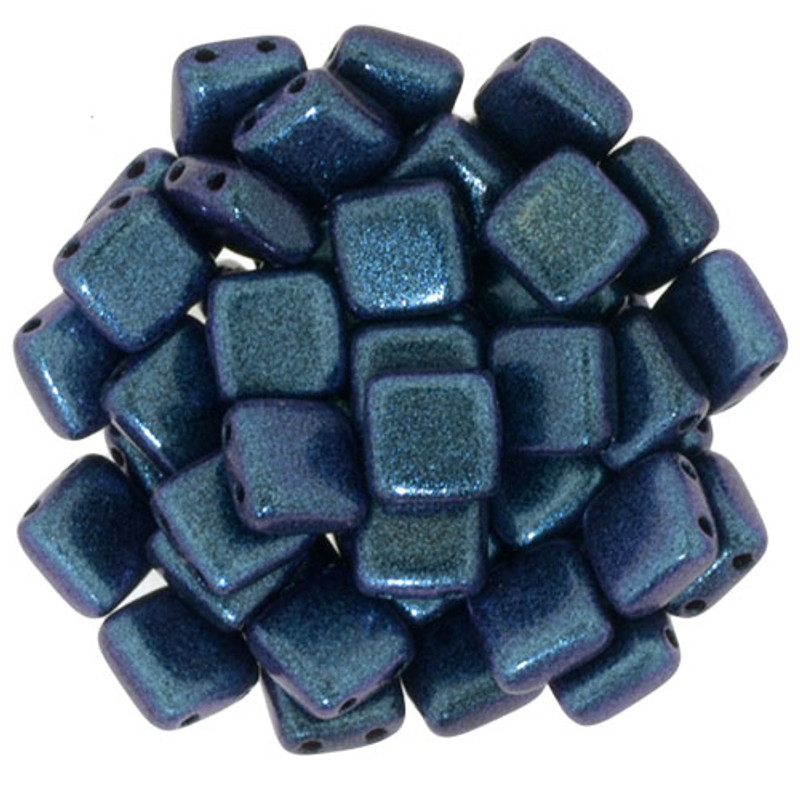 2-Hole CzechMates Tile Beads, Orchid Aqua (Qty: 25)