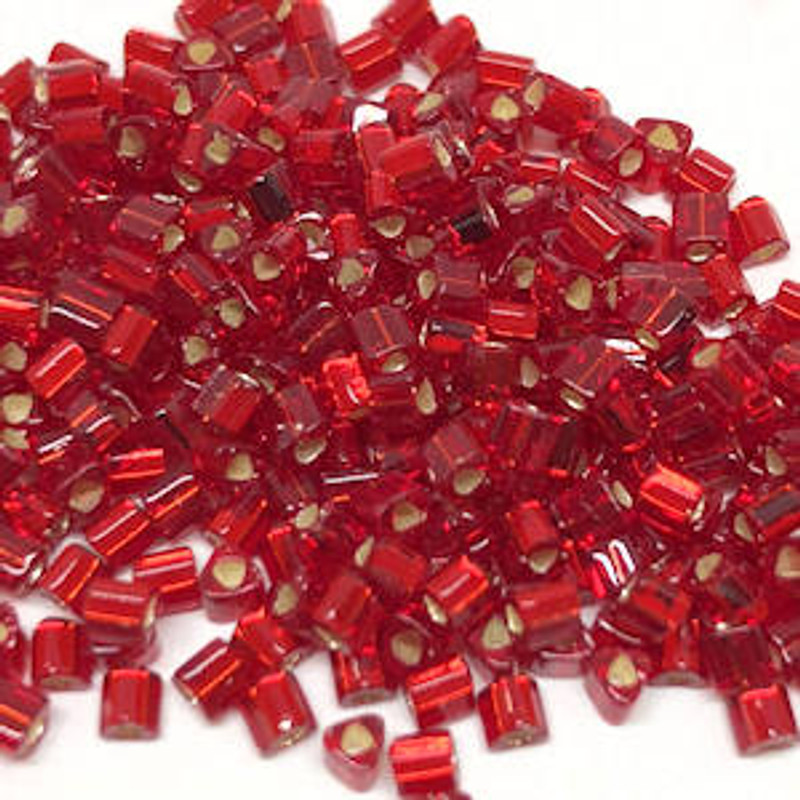 11-TRI-0025C, Silver-Lined Dark Ruby Triangles (28 gr.)
