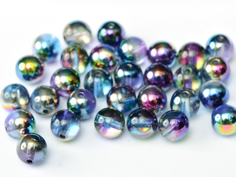 4mm Round Glass Beads, Magic Blue (Qty: 50)