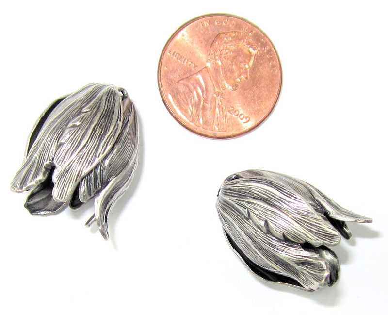 Large Tulip End Cap, Silver Plated, 15x20mm (E001) (Qty: 2)