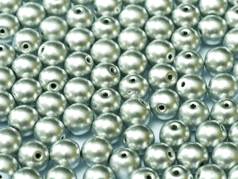 4mm Round Glass Beads, Aluminum Silver (Qty: 50)