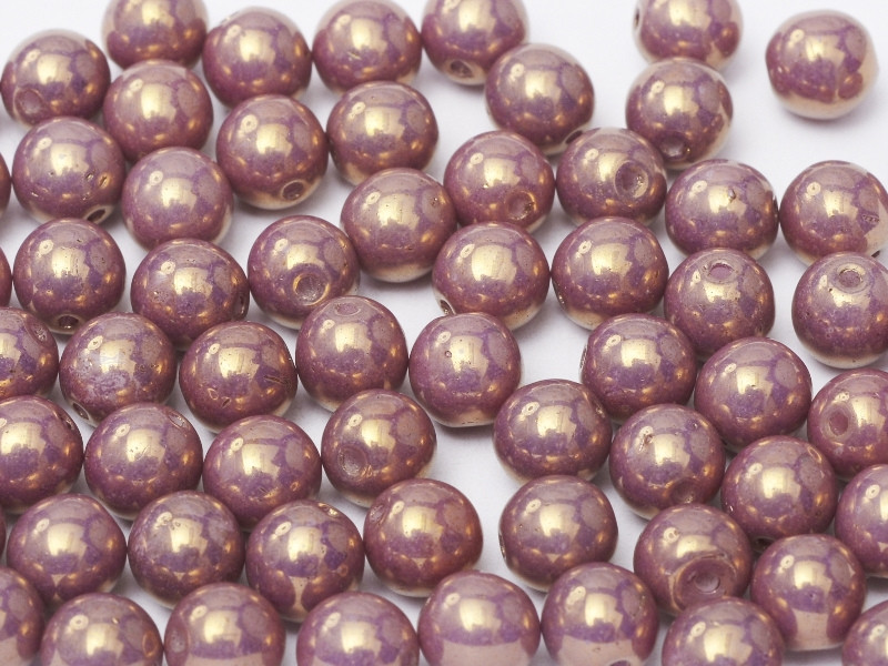 4mm Round Glass Beads, Vega Luster (Qty: 50)