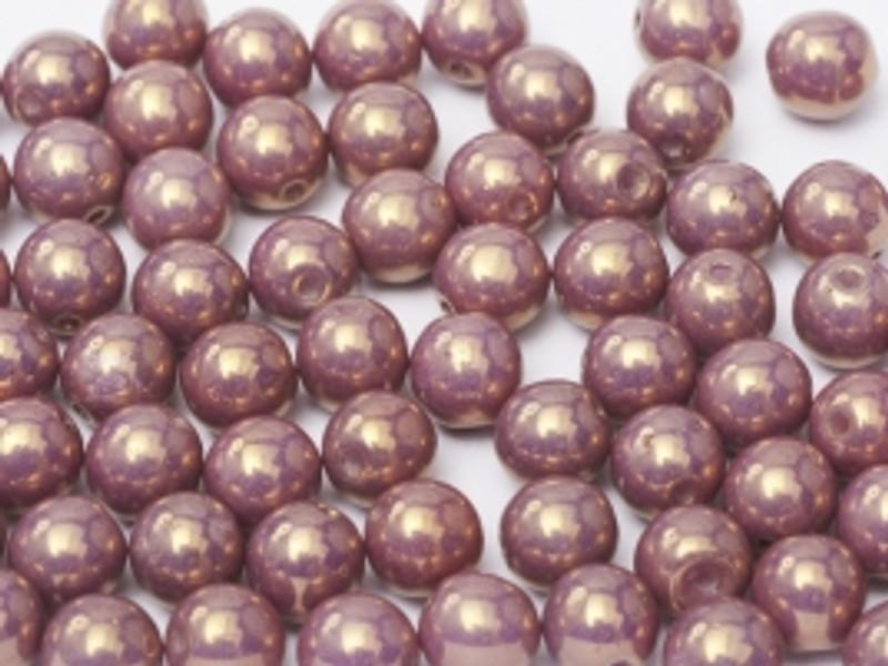 4mm Round Glass Beads, Lilac Vega Luster (Qty: 50)