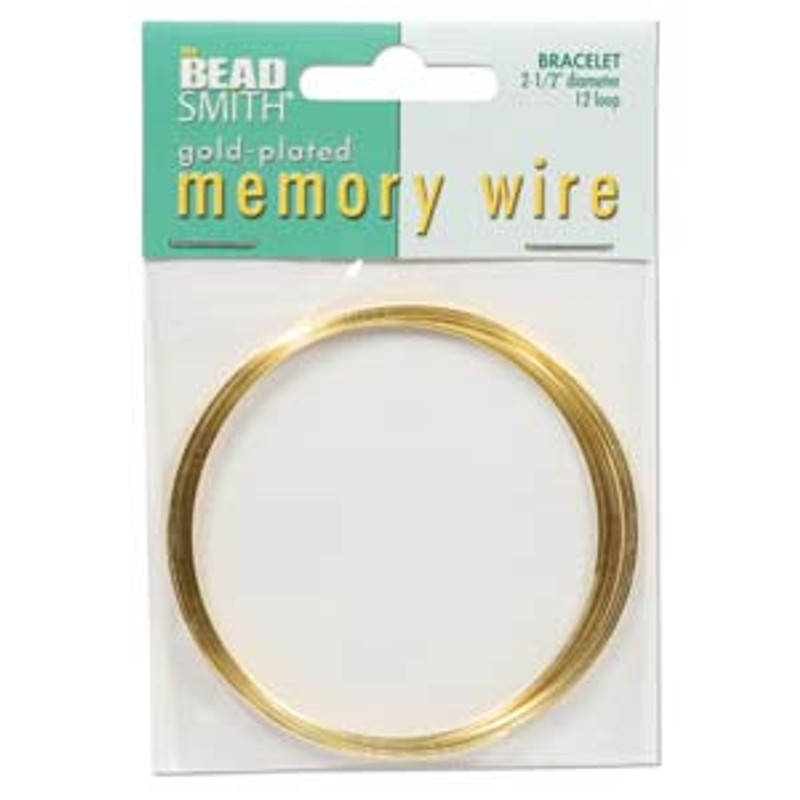 "Memory Wire - Round Bracelet - 2.5"" (Large) - Gold (12 loops)"