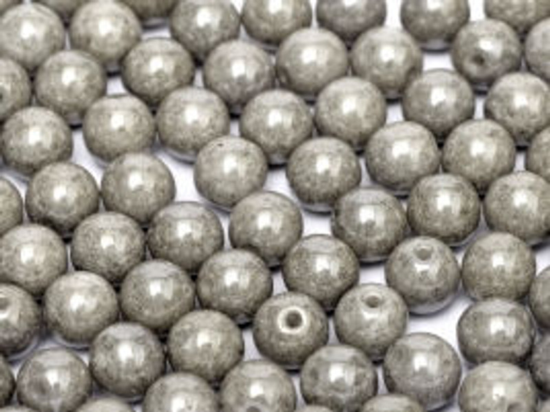 4mm Round Glass Beads, Grey Luster (Qty: 50)