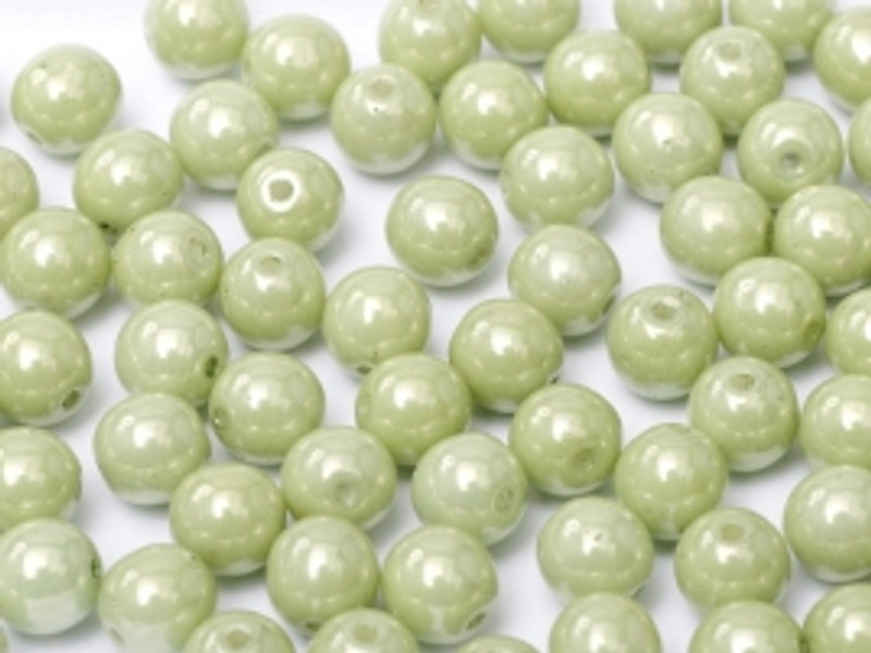 4mm Round Glass Beads, Mint Luster (Qty: 50)